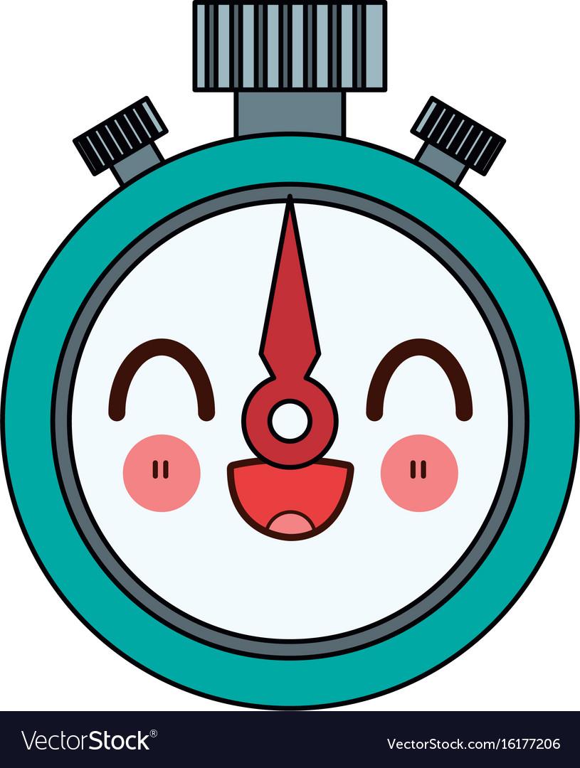 Kawaii stopwatch chronometer precision cartoon vector image