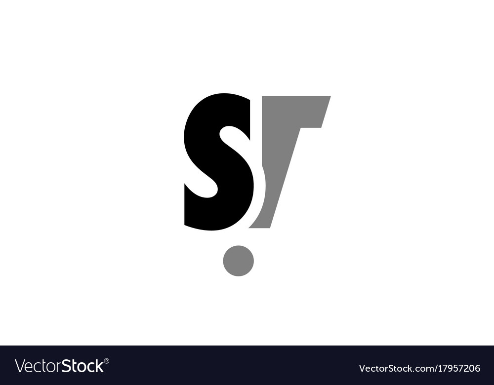 St s t black white grey alphabet letter logo icon vector image