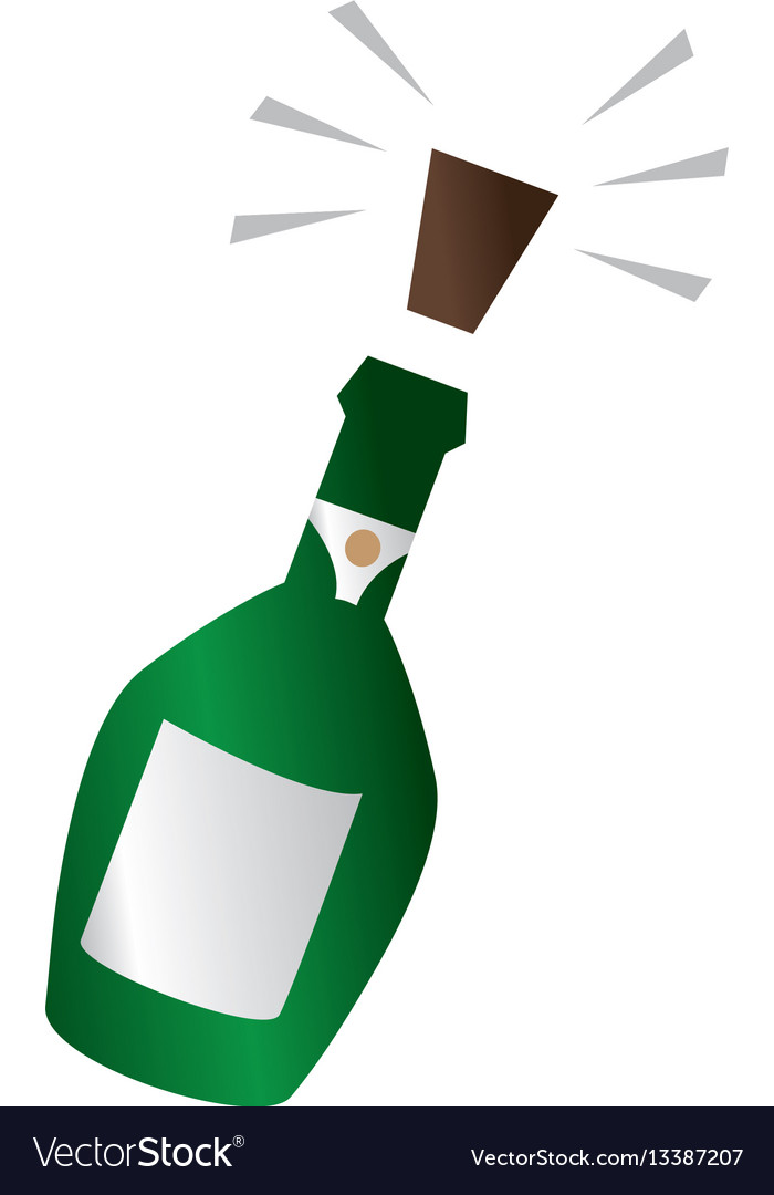 Champagne bottle with cork expelled vector image
