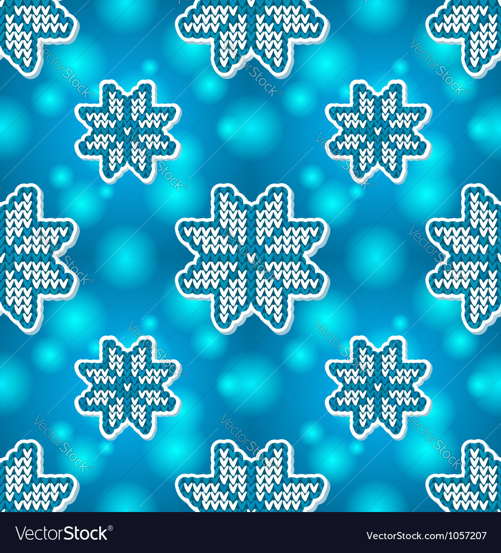 Christmas blue embroidery seamless pattern vector image
