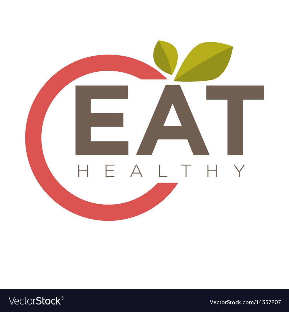 Eat healthy emblem vector image