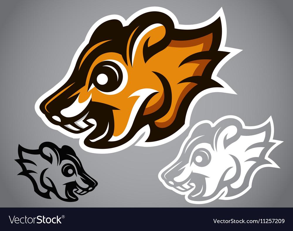 Wild Squirrel head brown logo 2902 vector image