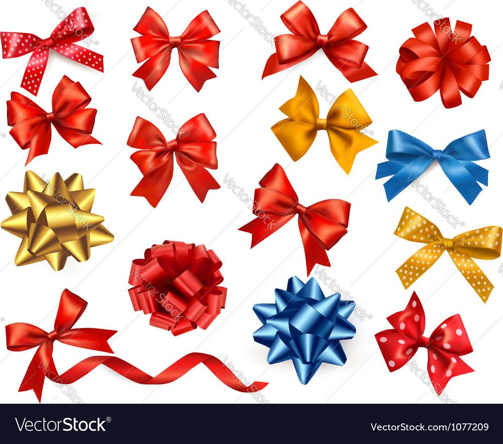 Satin gift bows and ribbons vector image