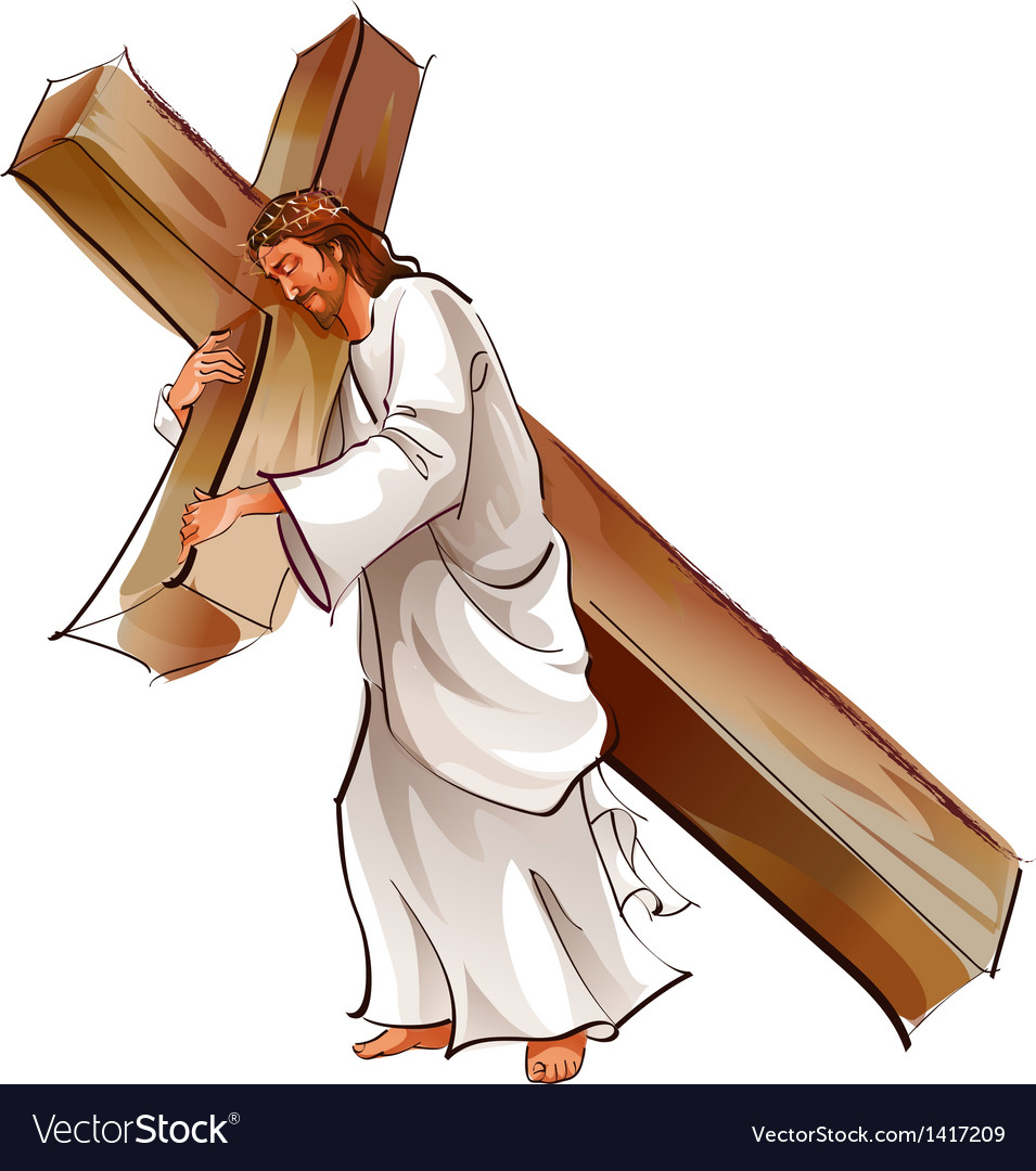 side view of jesus christ holding cross royalty free vector