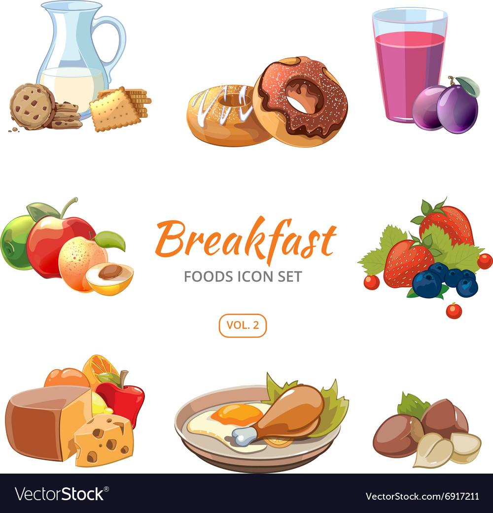 Cartoon breakfast food icons set vector image