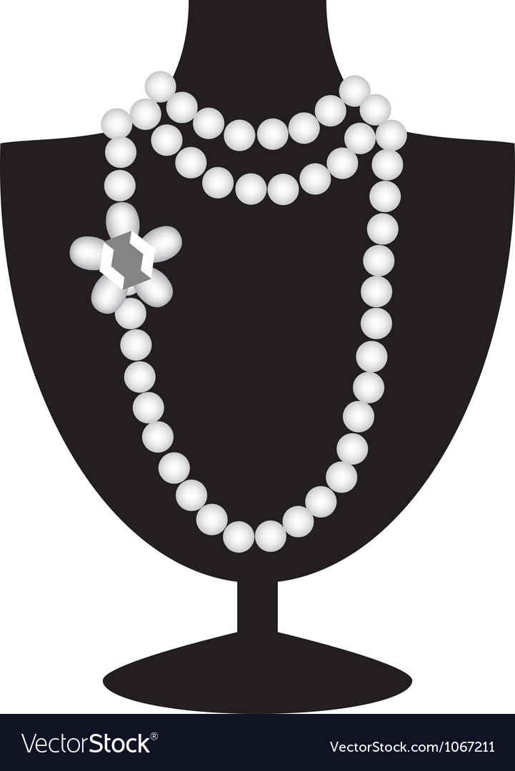 Pearl necklace on black mannequin vector image