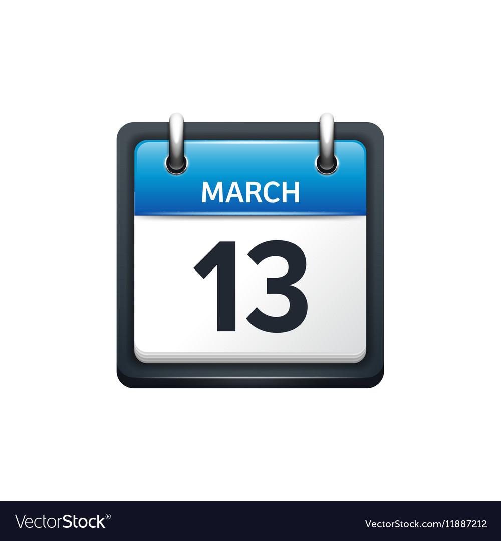 March 13 Calendar icon flat vector image