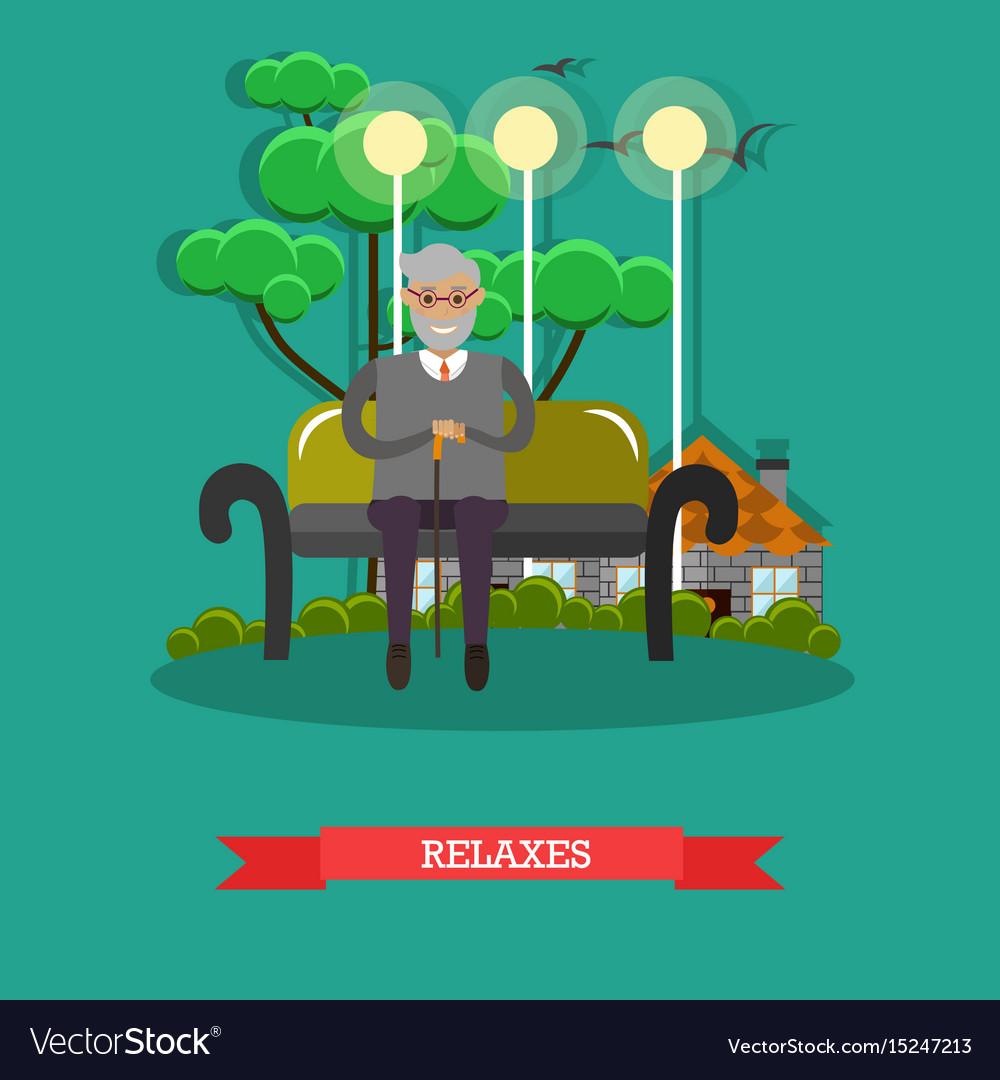 Senior man relaxing in park in vector image
