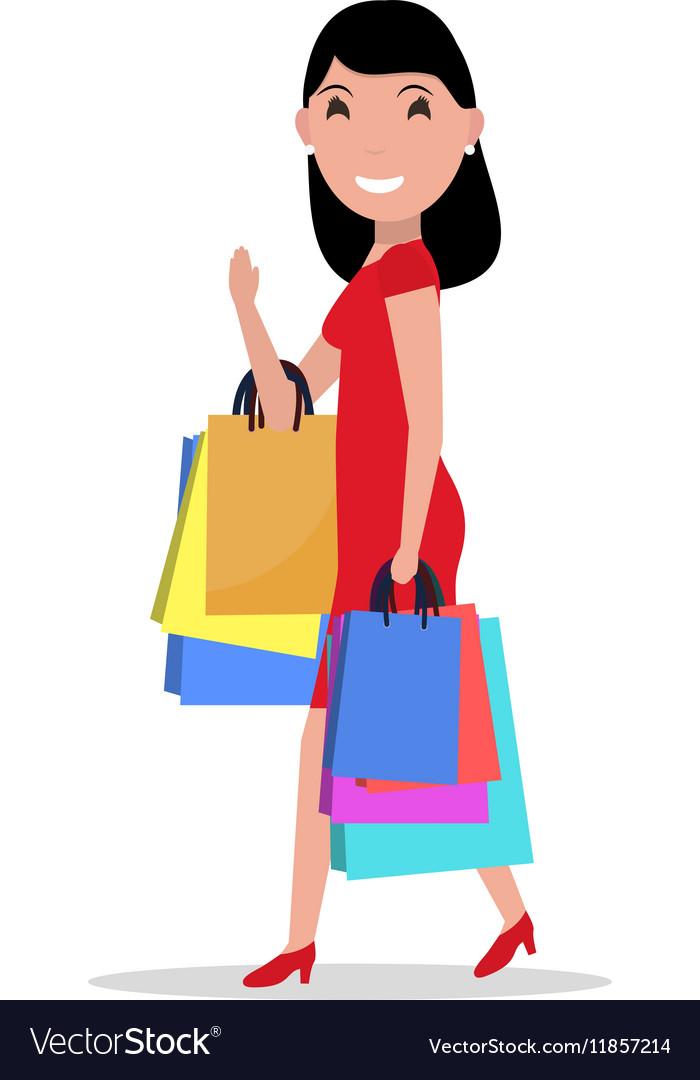 Cartoon happy woman shopping bags vector image