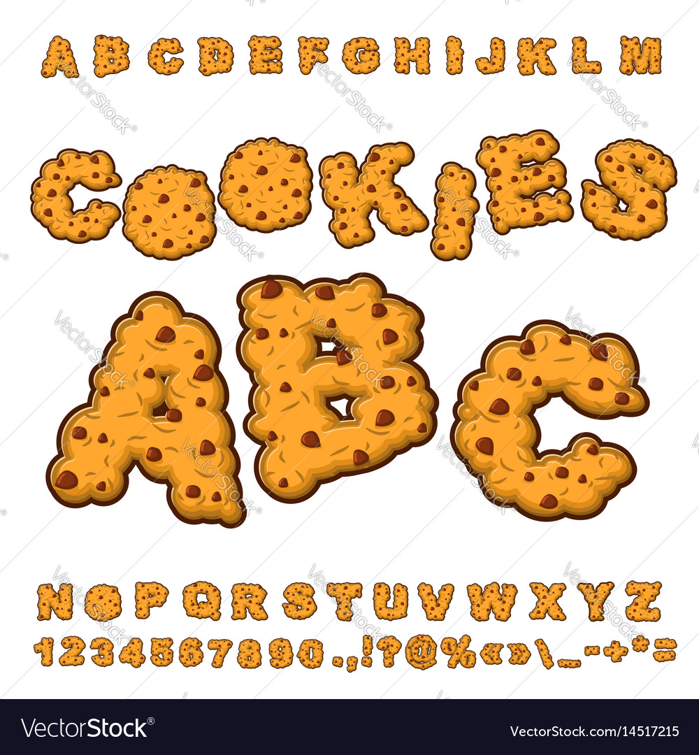 Cookies font food lettering edible typography vector image