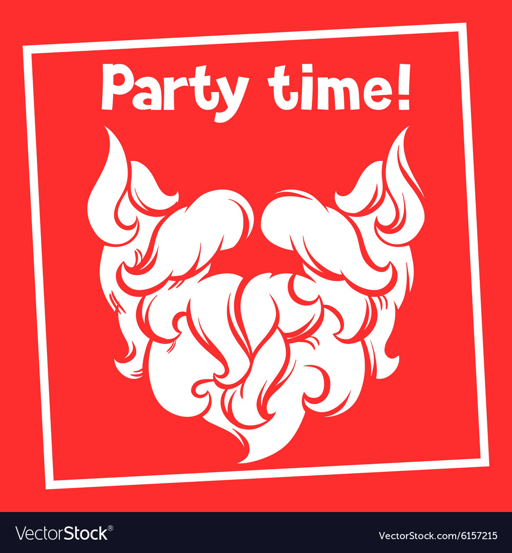 Party time background with Santa mustache and vector image