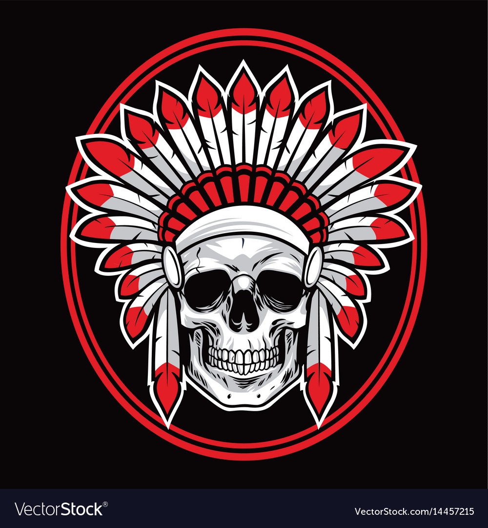 Skull of indian native american warrior red vector image buycottarizona Images