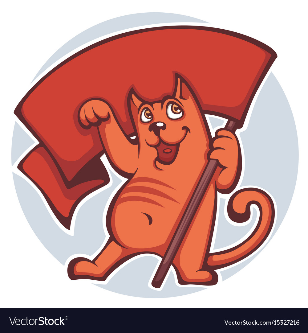 Cats revolution cartoon cat holding a flag vector image