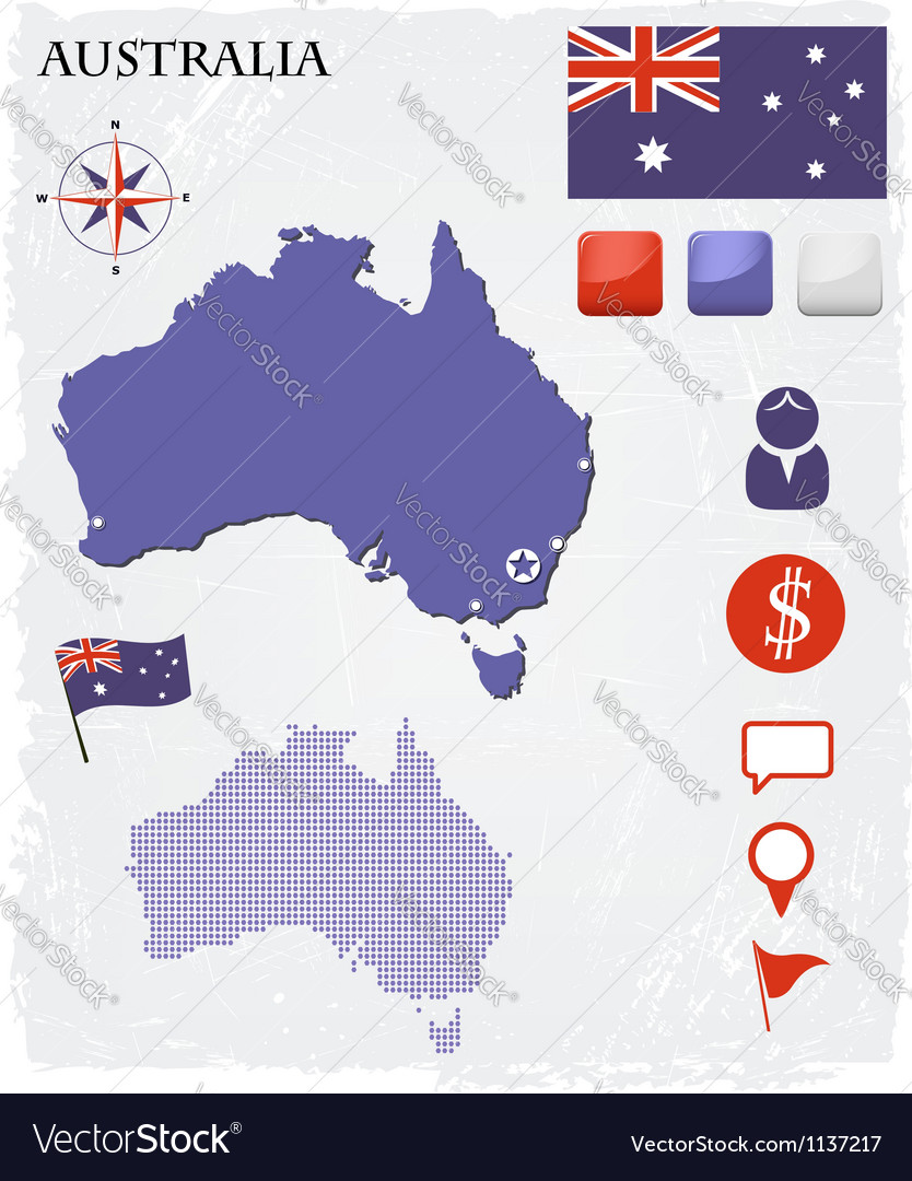 Australia map icons and buttons set vector image