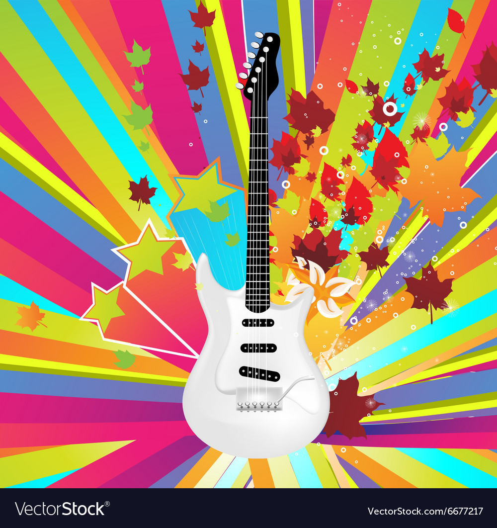 Autumn Guitar Icon vector image