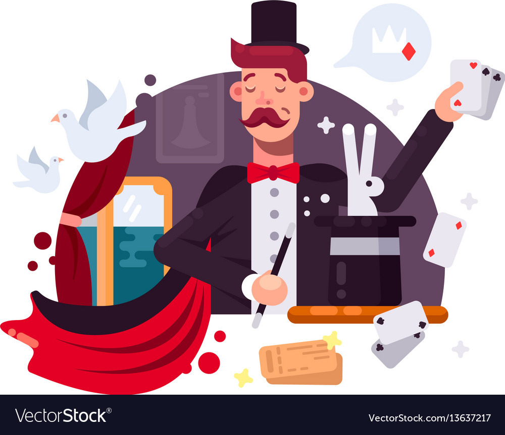 Magician in cylinder and cloak vector image