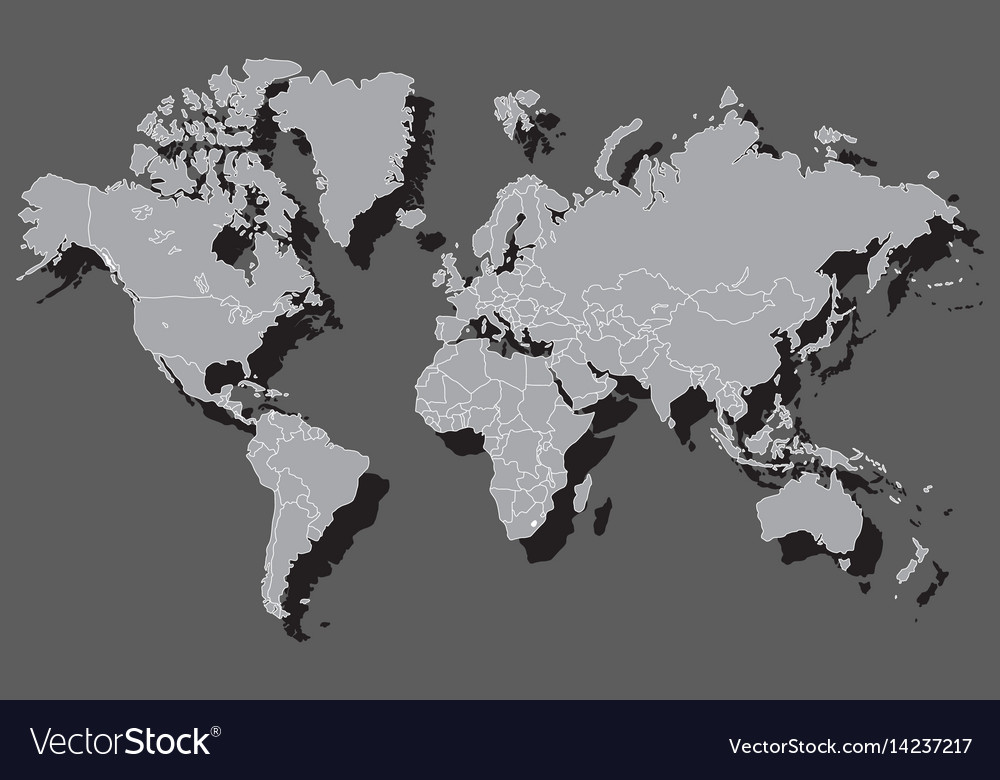 Political world map with shadow vector image