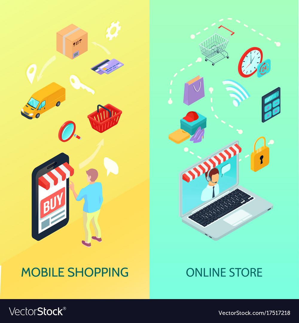 Shopping ecommerce banner set vector image
