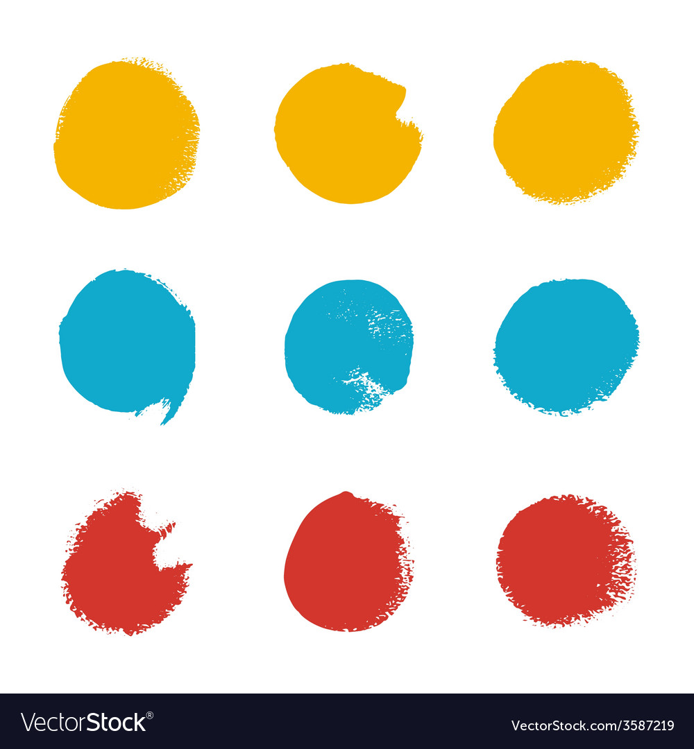 Grunge brush circle set vector image