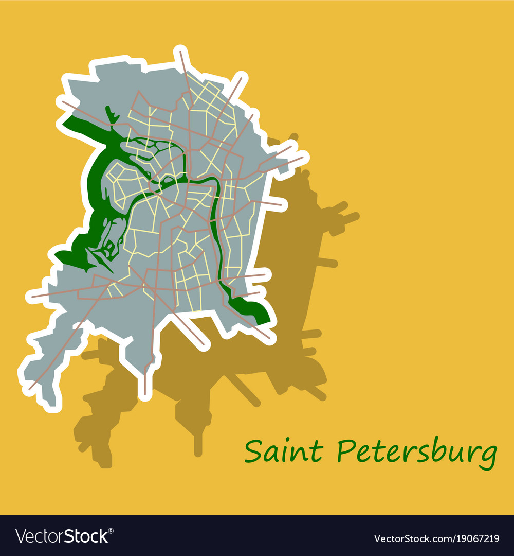 Sticker color map of the centre of st petersburg Vector Image