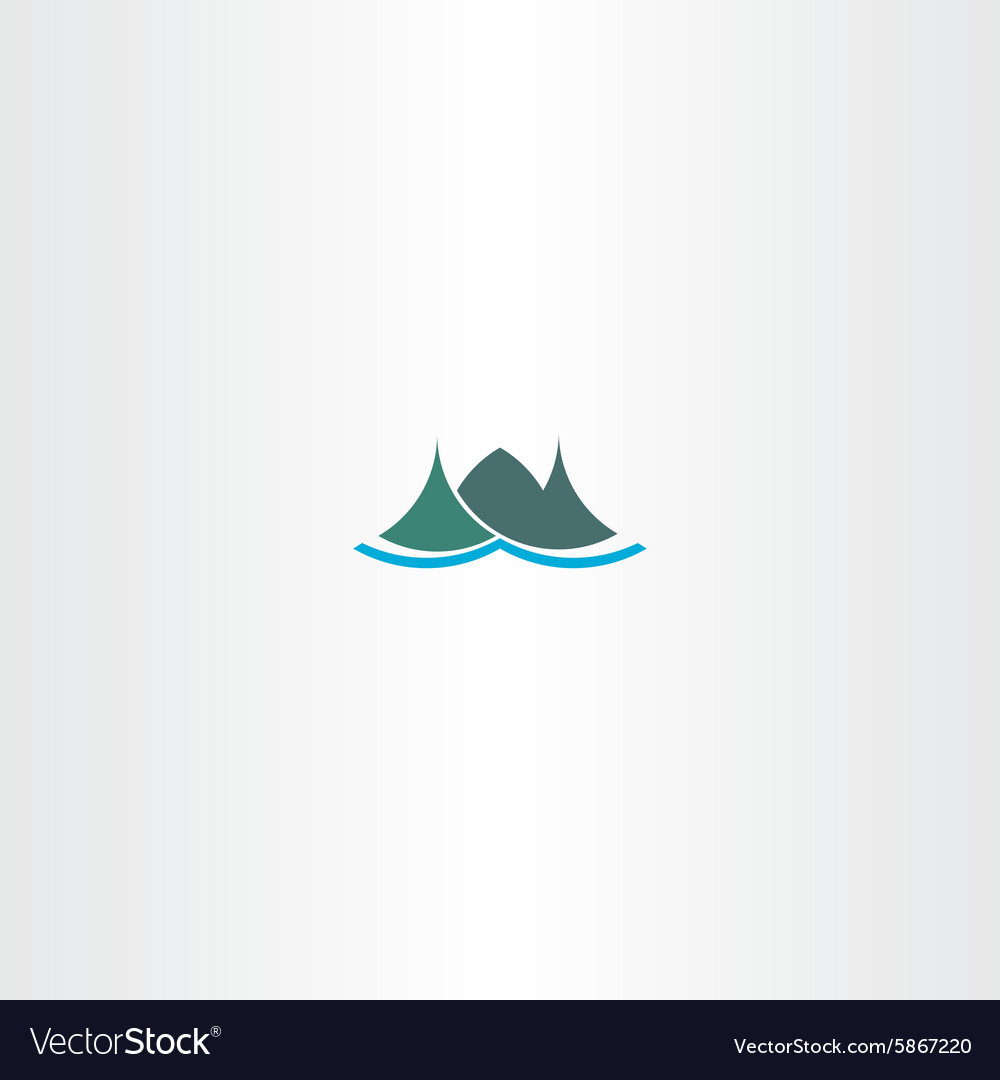 Logo mountain green iceland icon sign vector image