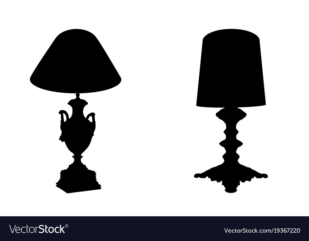 Table lamps on white background vector image