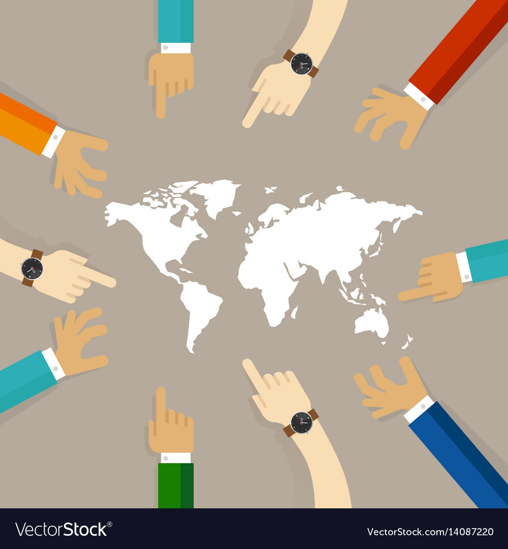 World map together hands pointing together concept world map together hands pointing together concept vector image gumiabroncs Gallery