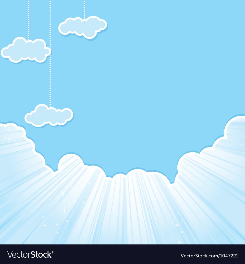 Cut sky cloud blue vector image
