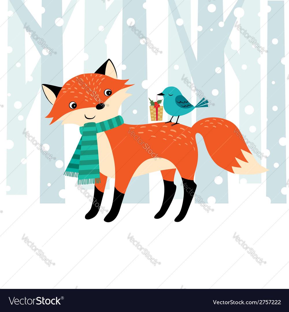 Woodland Christmas time vector image