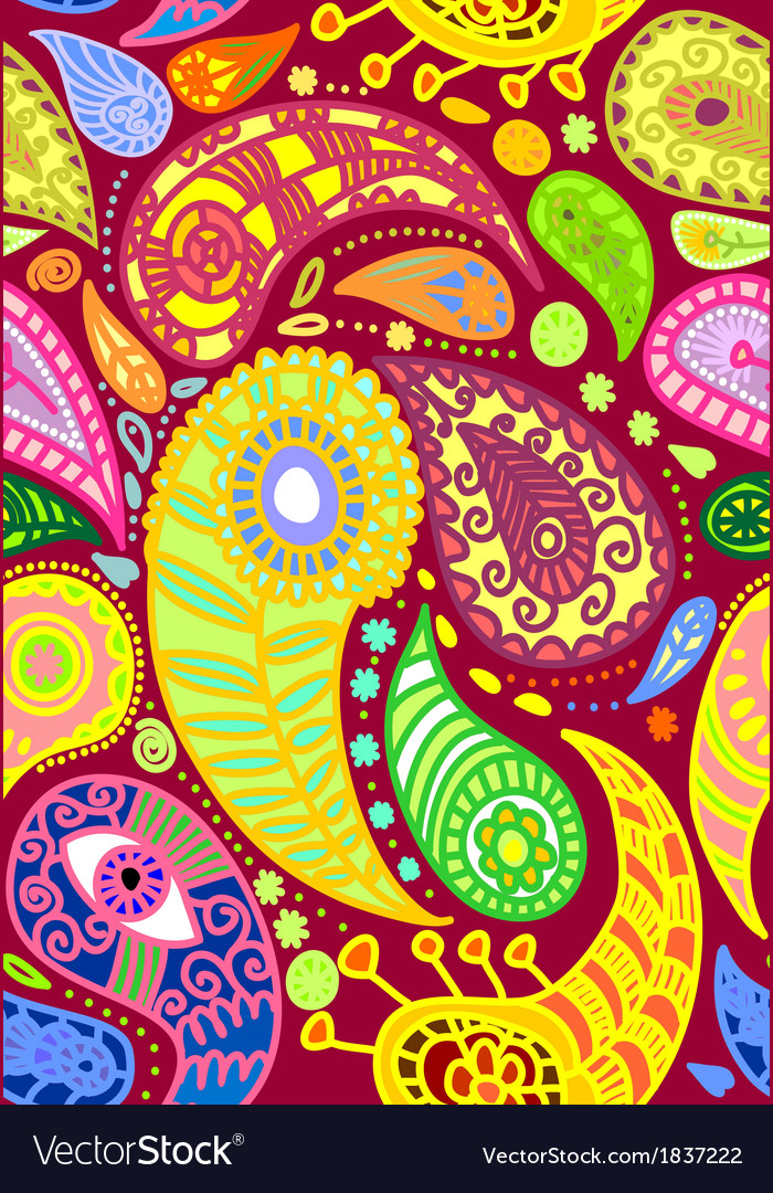 Red seamless paisley pattern vector image