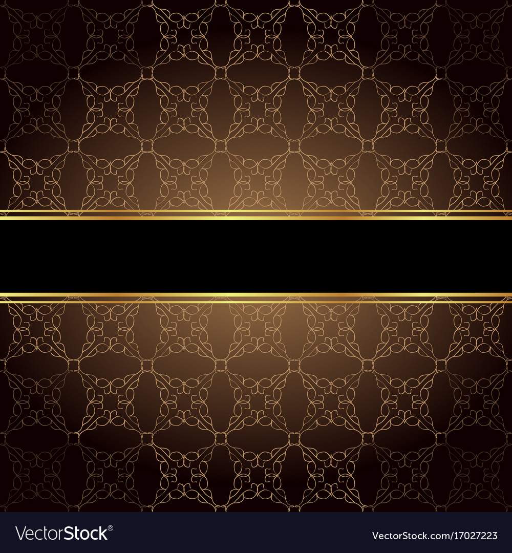 Elegant wallpaper with golden fine decoration and vector image