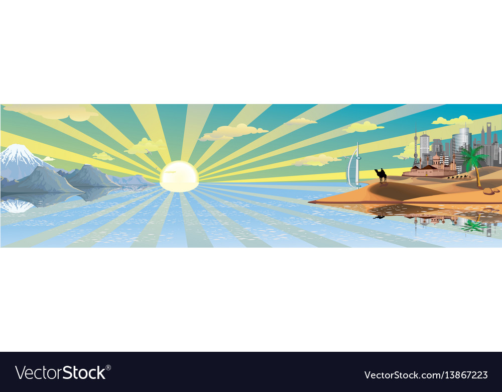 Panorama the landscape of the arab world vector image