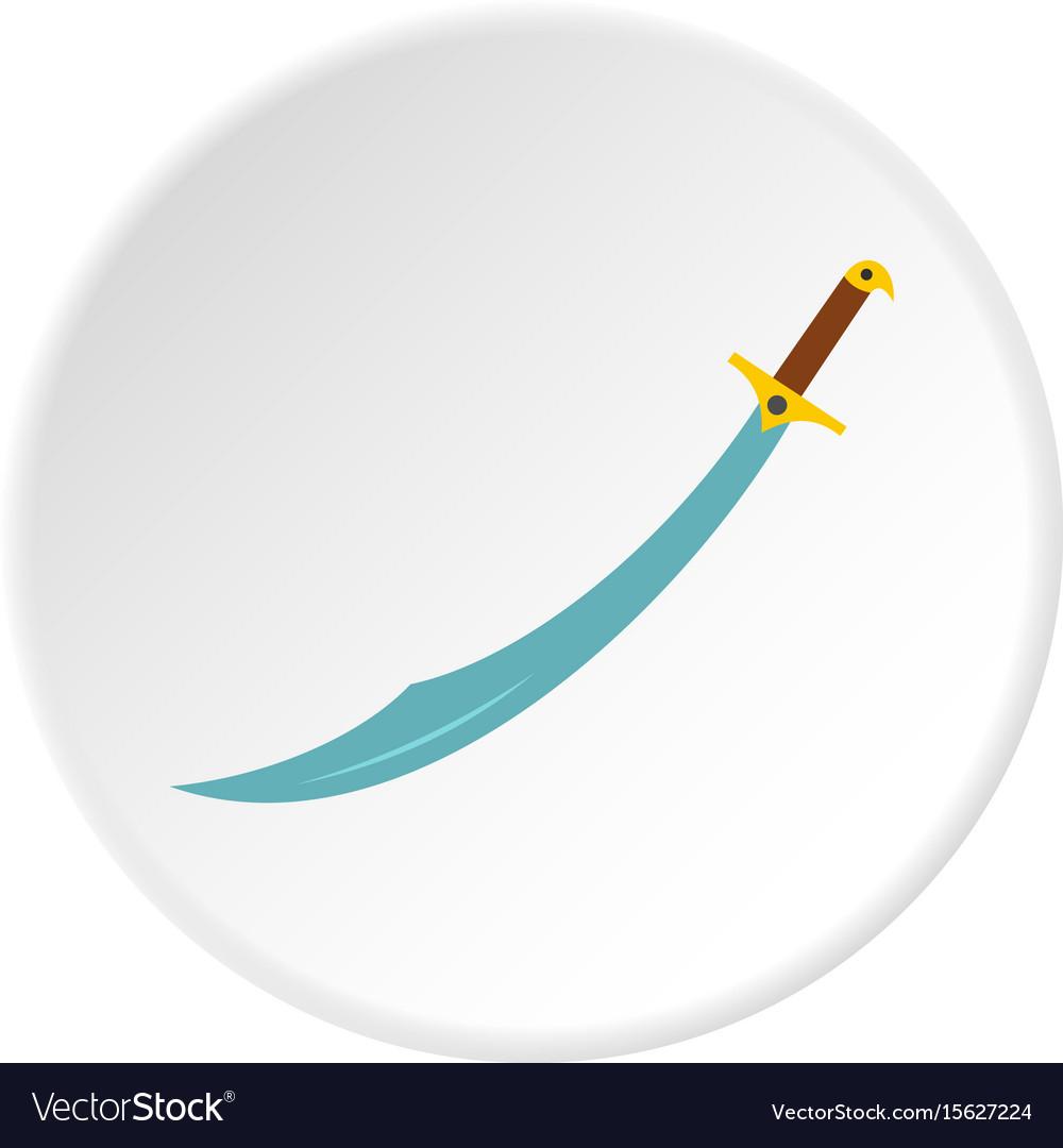 Arabian scimitar sword icon circle vector image