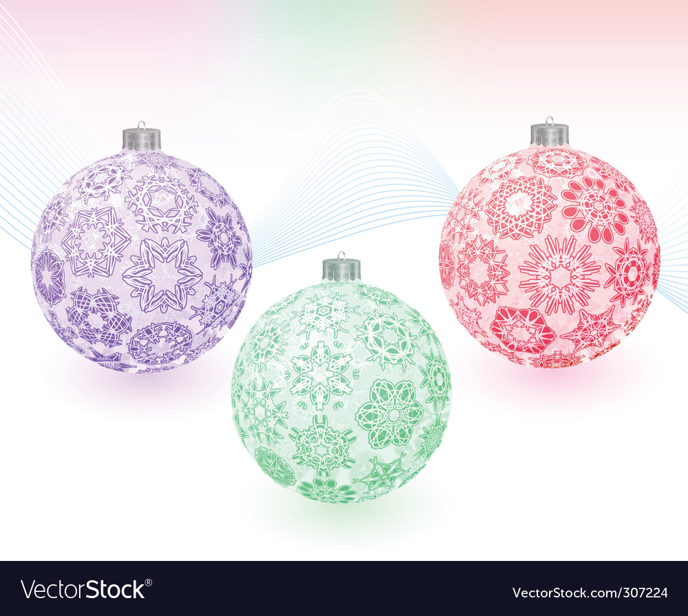 Christmas balls with snowflakes texture vector image