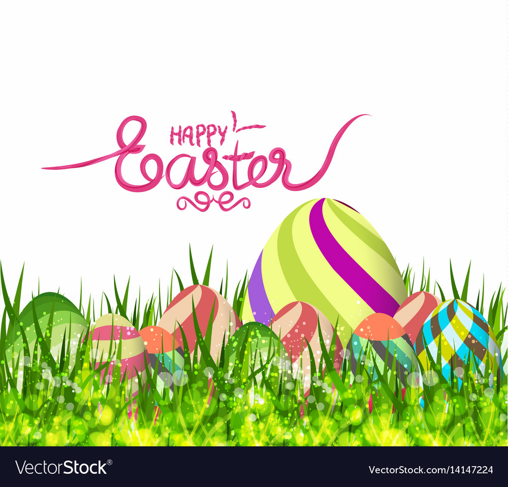Happy easter eggs spring background with grass vector image