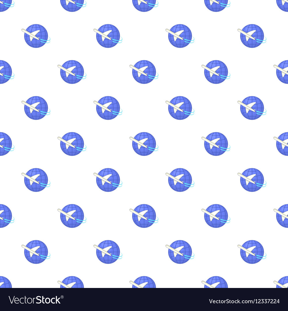 Traveling by a plane pattern cartoon style vector image
