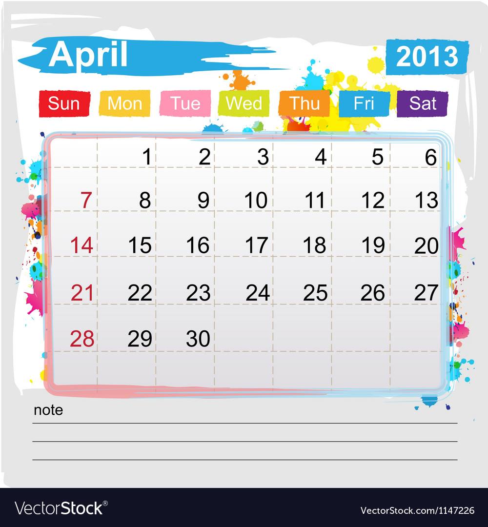 Calendar April 2013 vector image