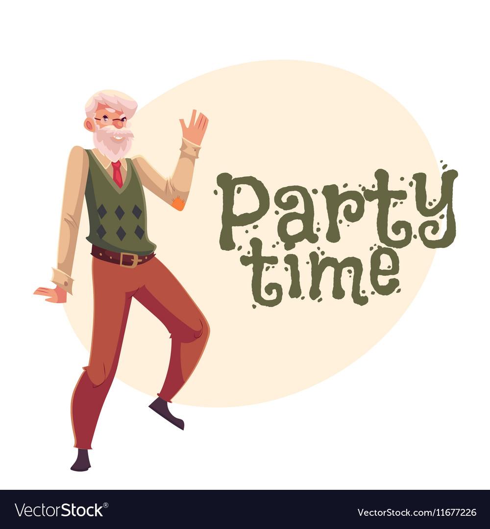 Old man dancing cartoon invitation banner vector image old man dancing cartoon invitation banner vector image stopboris Image collections