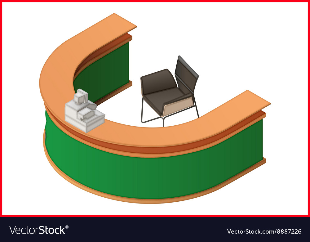 Reception flat isometric 3d vector image