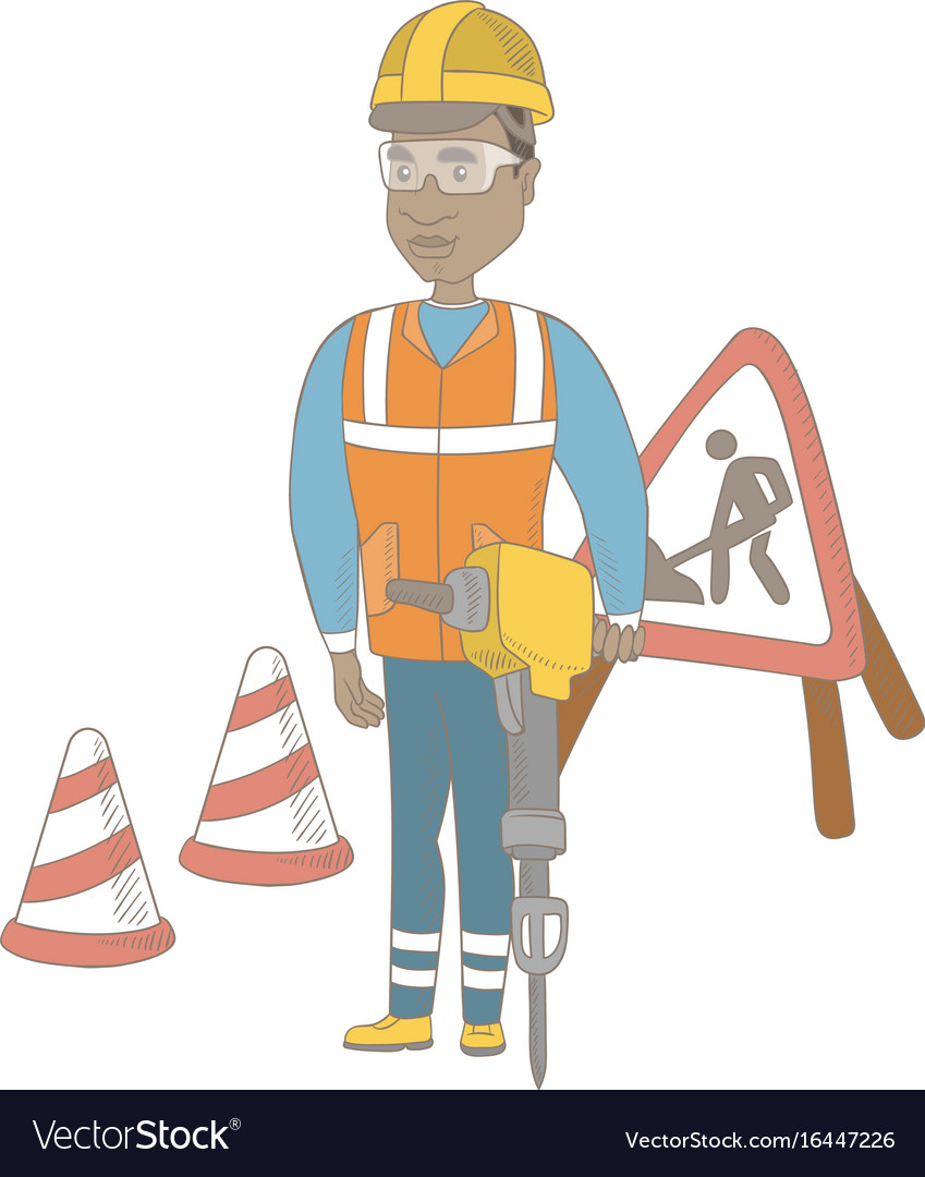 Young african builder using pneumatic hammer vector image