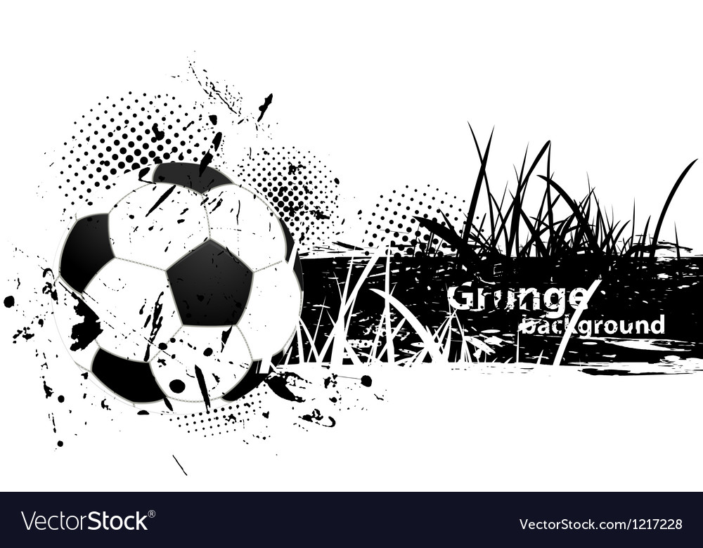 Grunge background with soccer ball vector image