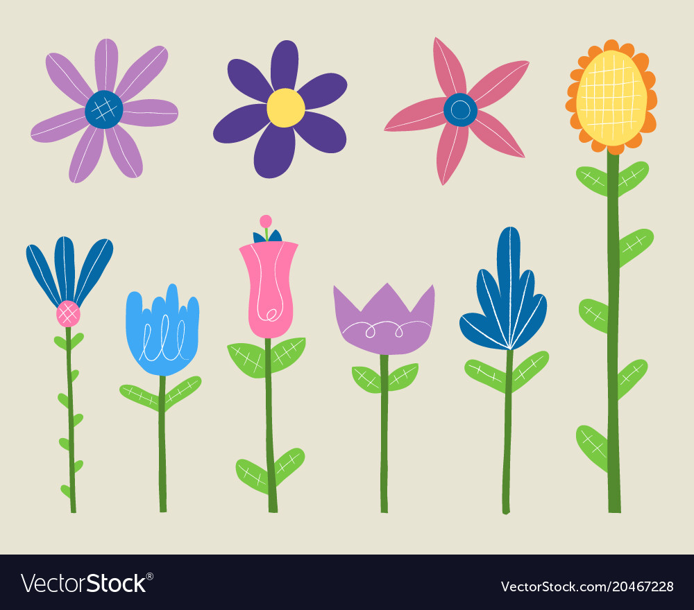 Spring Flowers Clipart Set Royalty Free Vector Image