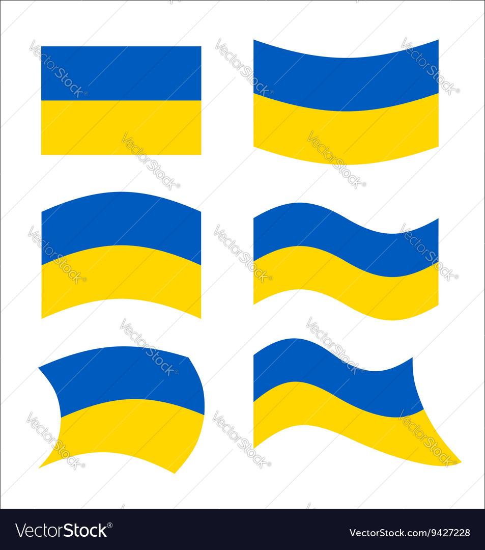 Ukraine flag Set flags Ukrainian republic in vector image