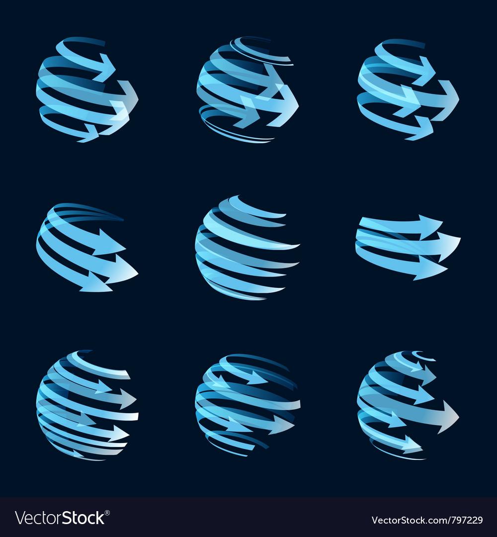 Global arrow icons vector image
