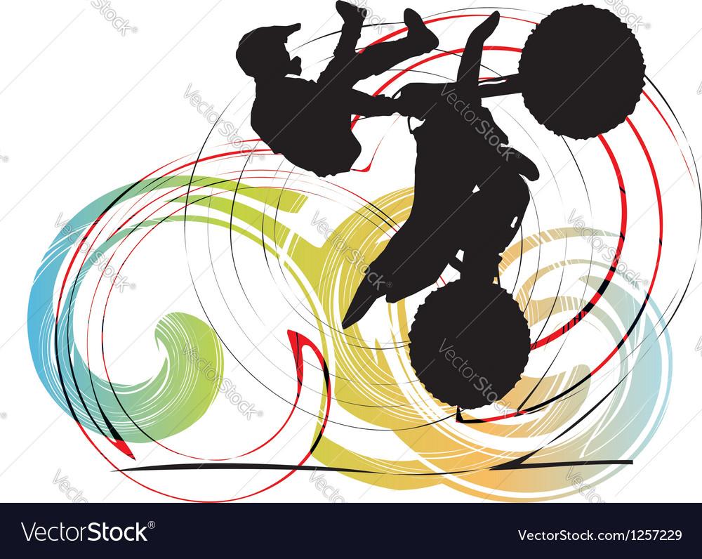 Biker in action vector image