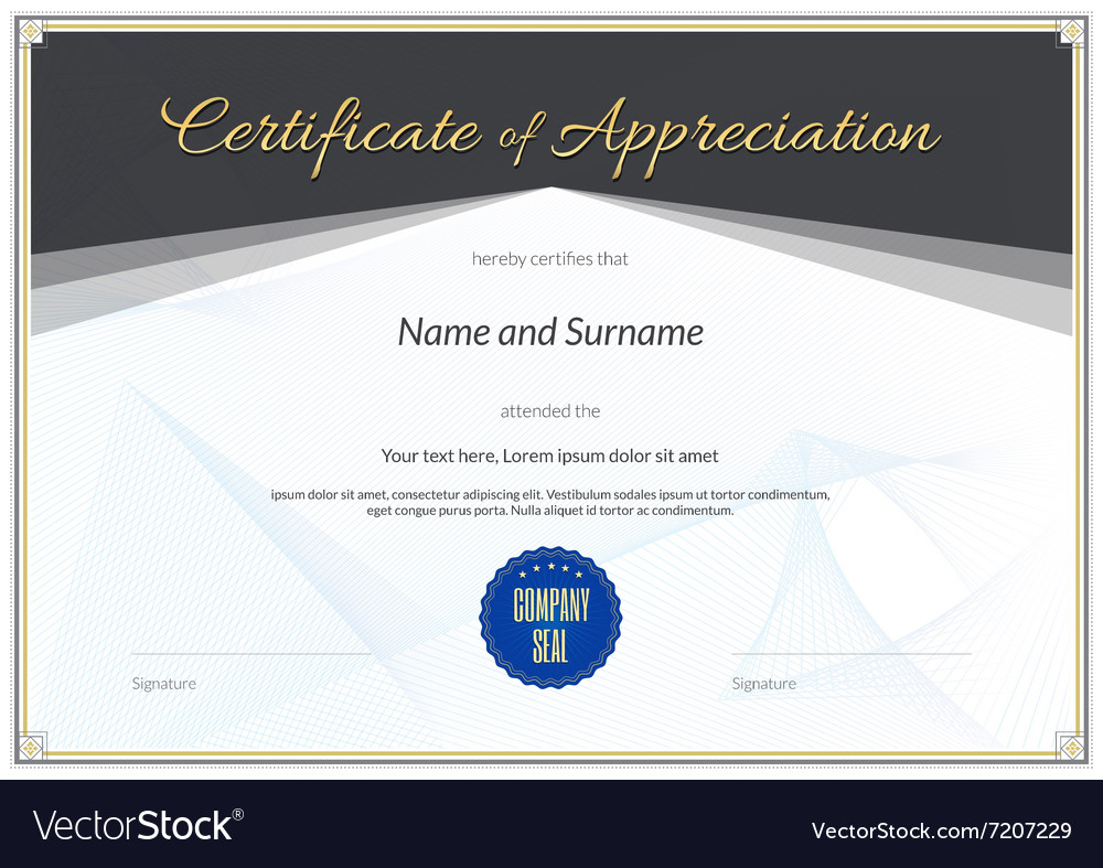Certificate Appreciation black gold vector image