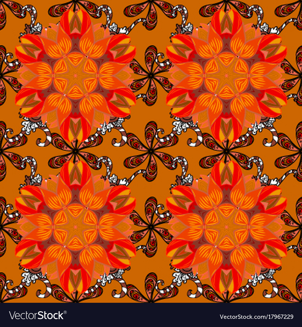 Flowers on orange brown and red colors flat Vector Image