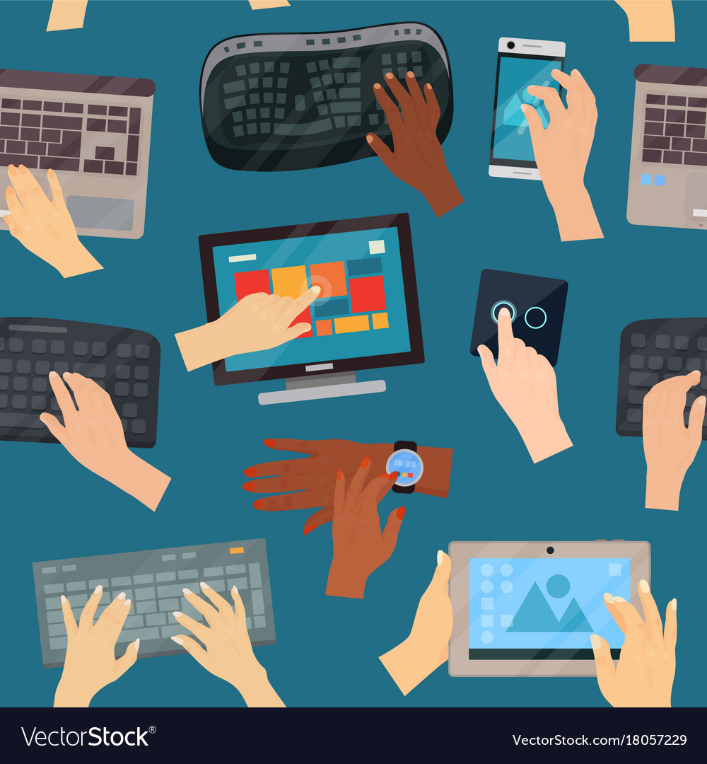 Human hands with computer keyboard and vector image
