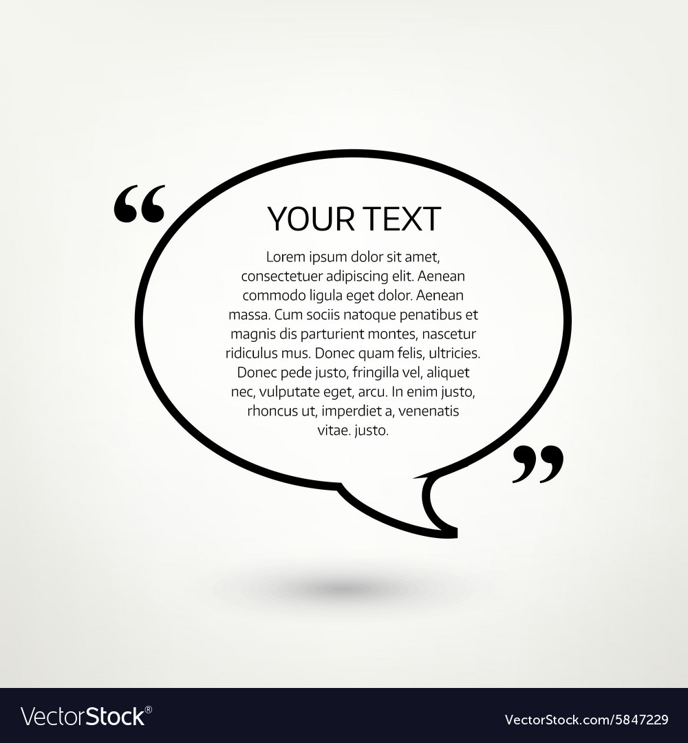 Oval quote text bubble vector image