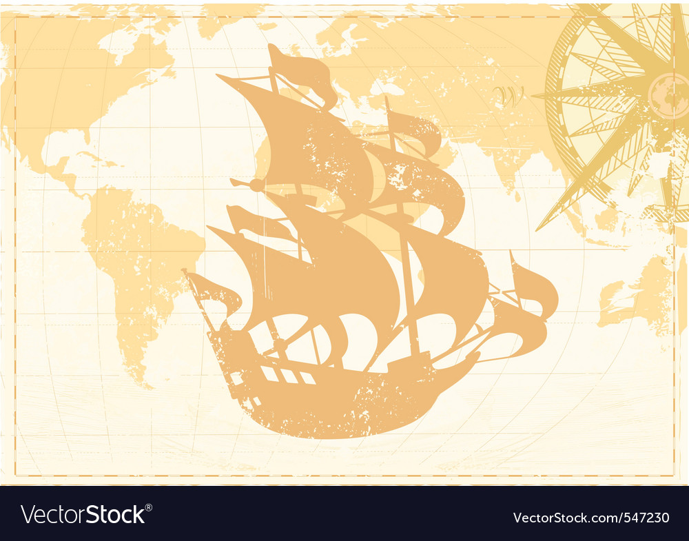 Vector illustration of vintage word map grunge bac vector image